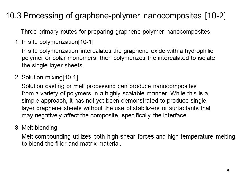 8 10.3 Processing of graphene-polymer nanocomposites [10-2] Three primary routes for preparing graphene-polymer nanocomposites 1.