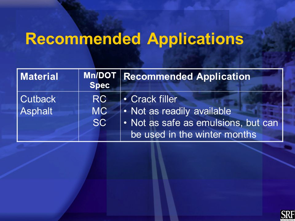 Recommended Applications Material Mn/DOT Spec Recommended Application Cutback Asphalt RC MC SC Crack filler Not as readily available Not as safe as emulsions, but can be used in the winter months