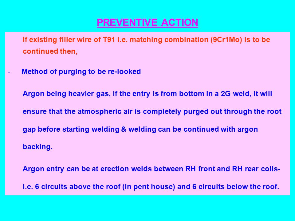PREVENTIVE ACTION If existing filler wire of T91 i.e.
