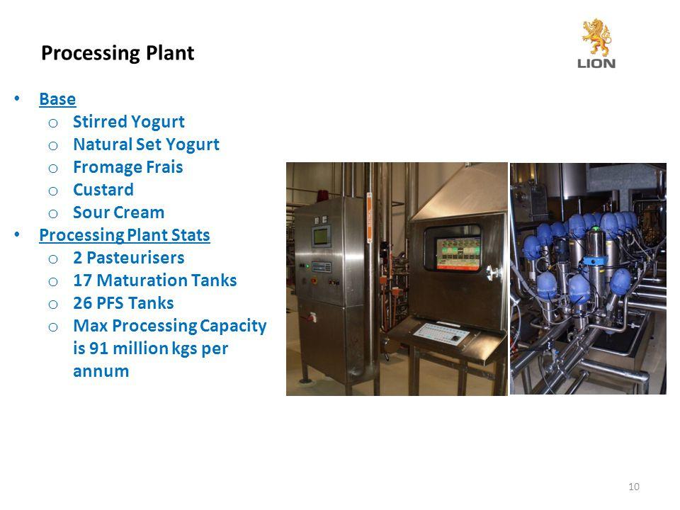 Processing Plant 10 Base o Stirred Yogurt o Natural Set Yogurt o Fromage Frais o Custard o Sour Cream Processing Plant Stats o 2 Pasteurisers o 17 Maturation Tanks o 26 PFS Tanks o Max Processing Capacity is 91 million kgs per annum