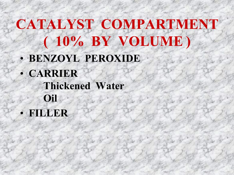 CATALYST COMPARTMENT ( 10% BY VOLUME ) BENZOYL PEROXIDE CARRIER Thickened Water Oil FILLER