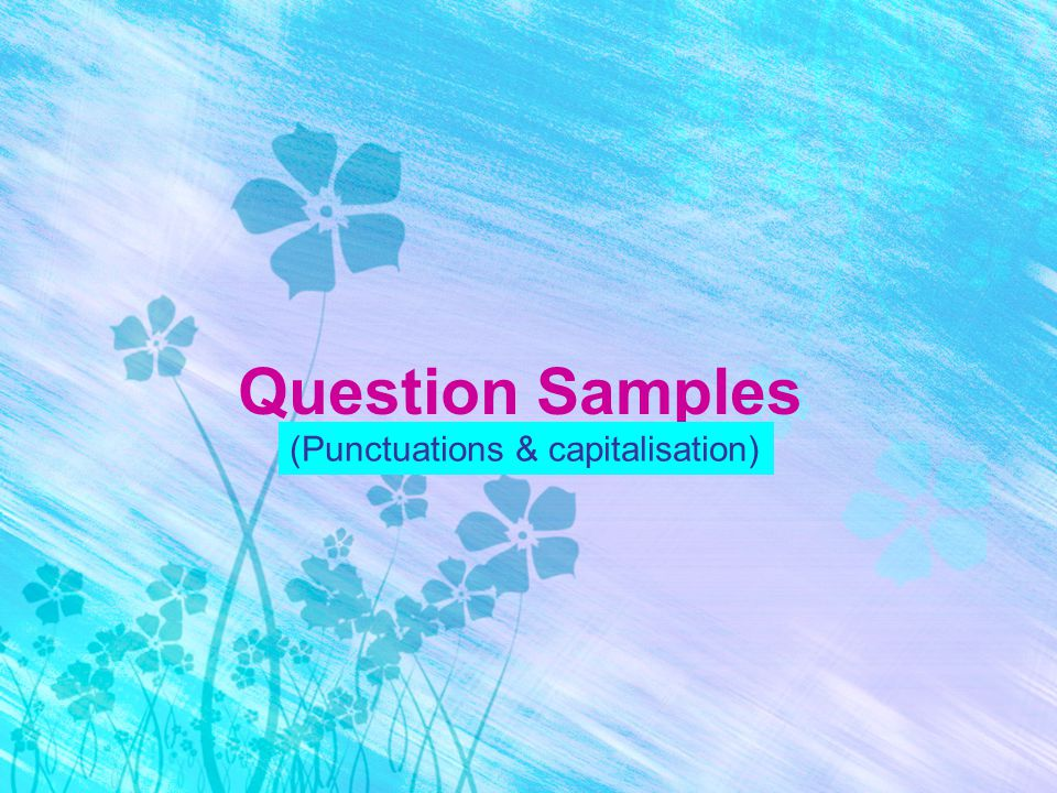 Question Samples (Punctuations & capitalisation)