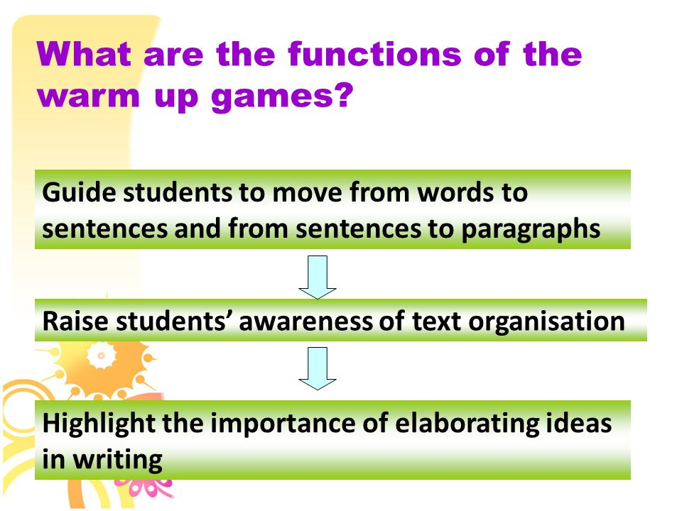 Guide students to move from words to sentences and from sentences to paragraphs Raise students' awareness of text organisation Highlight the importance of elaborating ideas in writing What are the functions of the warm up games