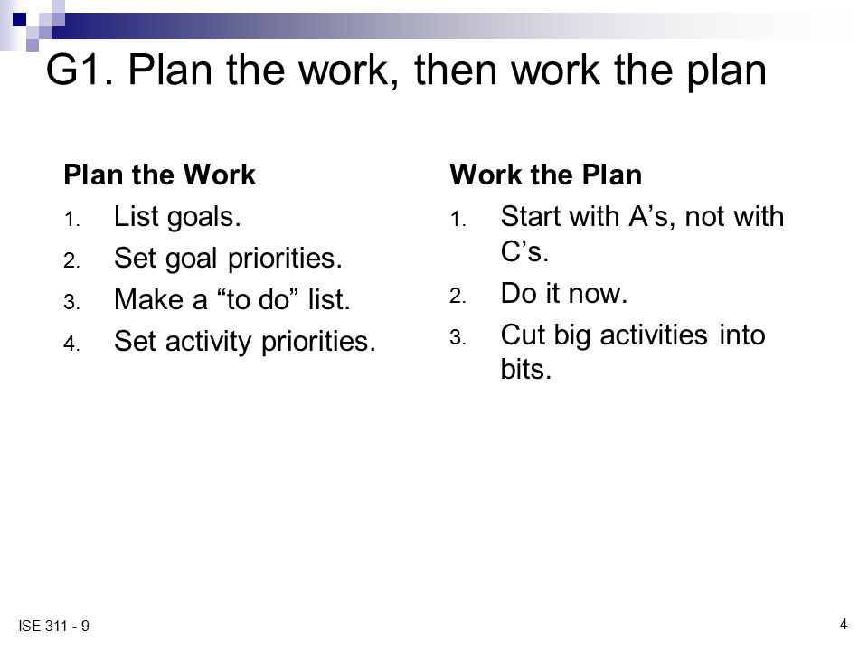 "4 ISE 311 - 9 G1. Plan the work, then work the plan Plan the Work 1. List goals. 2. Set goal priorities. 3. Make a ""to do"" list. 4. Set activity prior"