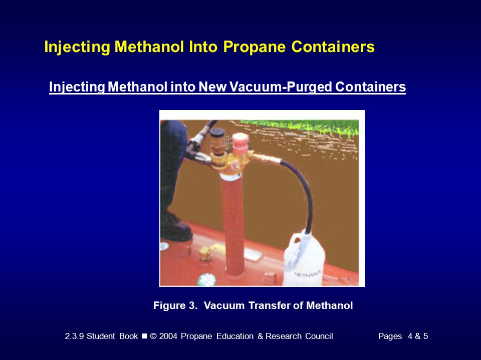 2.3.9 Student Book © 2004 Propane Education & Research CouncilPages 4 & 5 Injecting Methanol Into Propane Containers Injecting Methanol into New Vacuum-Purged Containers Figure 3.