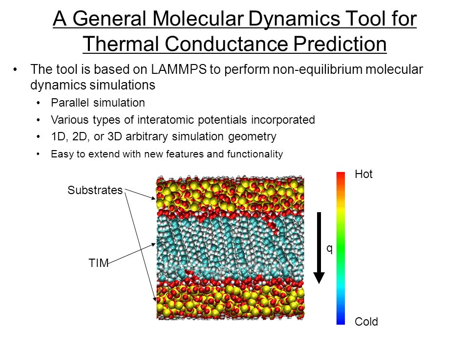 A General Molecular Dynamics Tool for Thermal Conductance Prediction The tool is based on LAMMPS to perform non-equilibrium molecular dynamics simulations Parallel simulation Various types of interatomic potentials incorporated 1D, 2D, or 3D arbitrary simulation geometry Easy to extend with new features and functionality q Substrates TIM Hot Cold