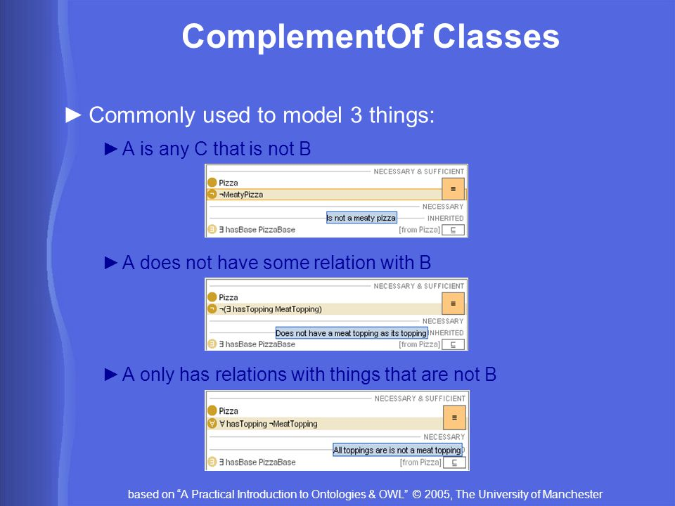 based on A Practical Introduction to Ontologies & OWL © 2005, The University of Manchester ComplementOf Classes ►Commonly used to model 3 things: ►A is any C that is not B ►A does not have some relation with B ►A only has relations with things that are not B