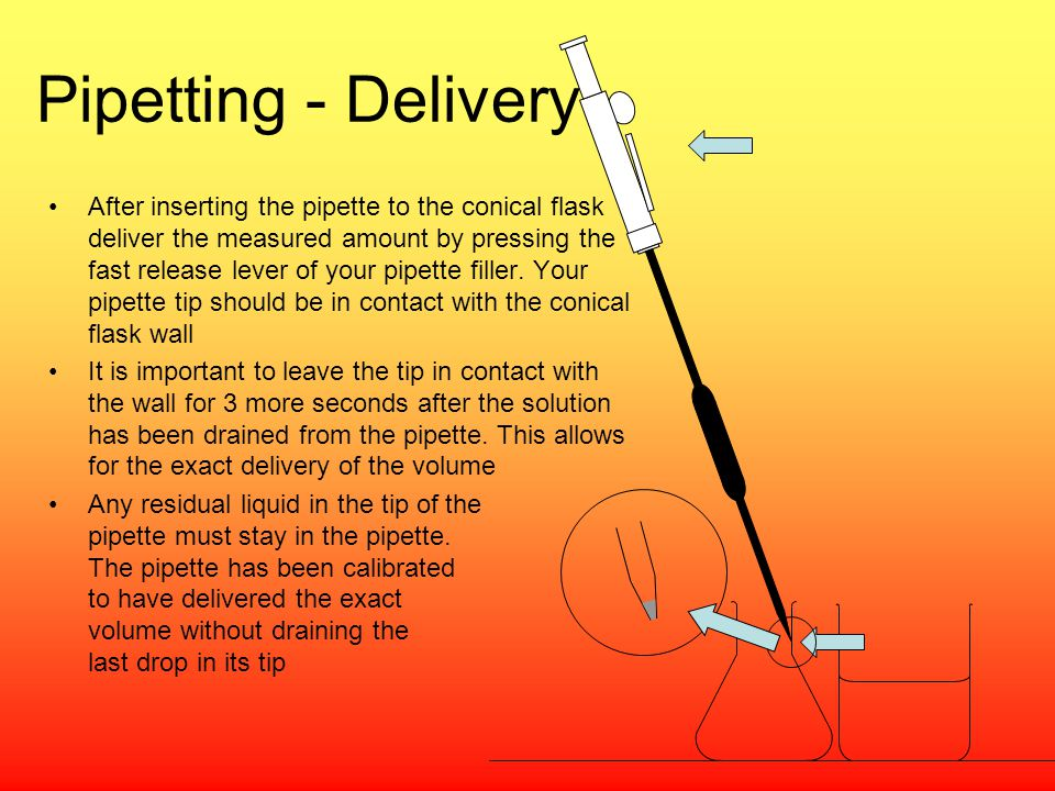 Pipetting - Delivery After inserting the pipette to the conical flask deliver the measured amount by pressing the fast release lever of your pipette f