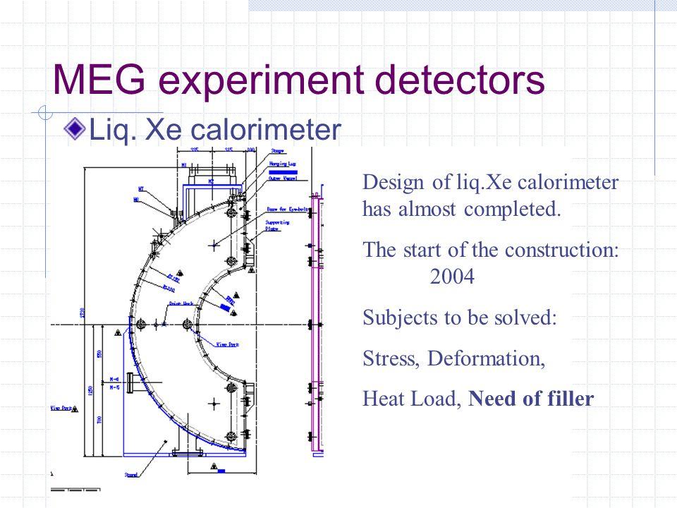 MEG experiment detectors Liq. Xe calorimeter Design of liq.Xe calorimeter has almost completed.