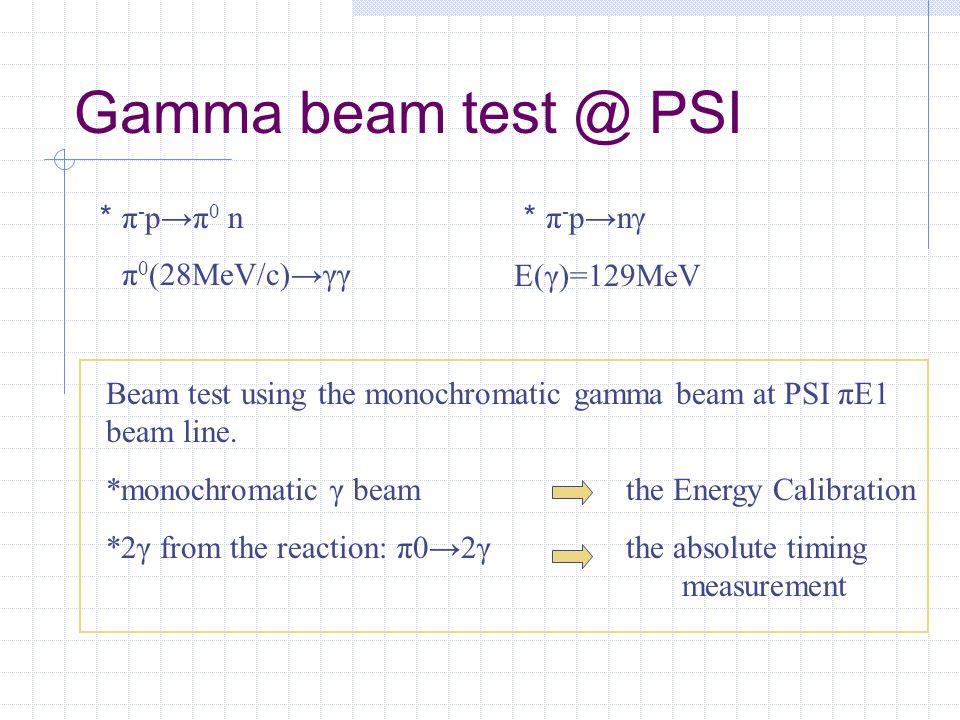 Gamma beam test @ PSI Beam test using the monochromatic gamma beam at PSI πE1 beam line.