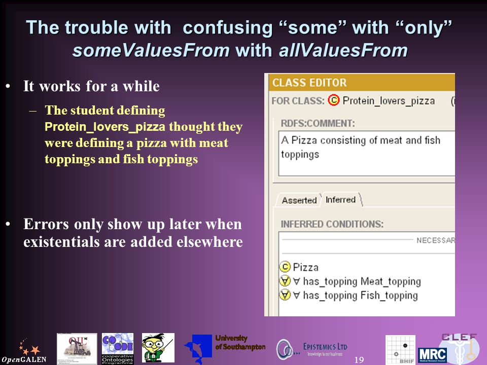 19 The trouble with confusing some with only someValuesFrom with allValuesFrom It works for a while –The student defining Protein_lovers_pizza thought they were defining a pizza with meat toppings and fish toppings Errors only show up later when existentials are added elsewhere