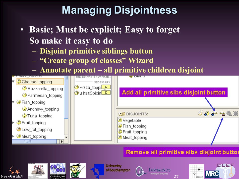 27 Managing Disjointness Basic; Must be explicit; Easy to forget So make it easy to do –Disjoint primitive siblings button – Create group of classes Wizard –Annotate parent – all primitive children disjoint Add all primitive sibs disjoint button Remove all primitive sibs disjoint button