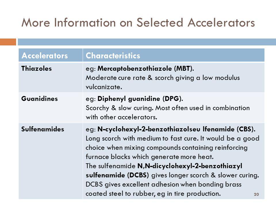 More Information on Selected Accelerators Dr. Ong SK AcceleratorsCharacteristics Thiazoleseg: Mercaptobenzothiazole (MBT). Moderate cure rate & scorch