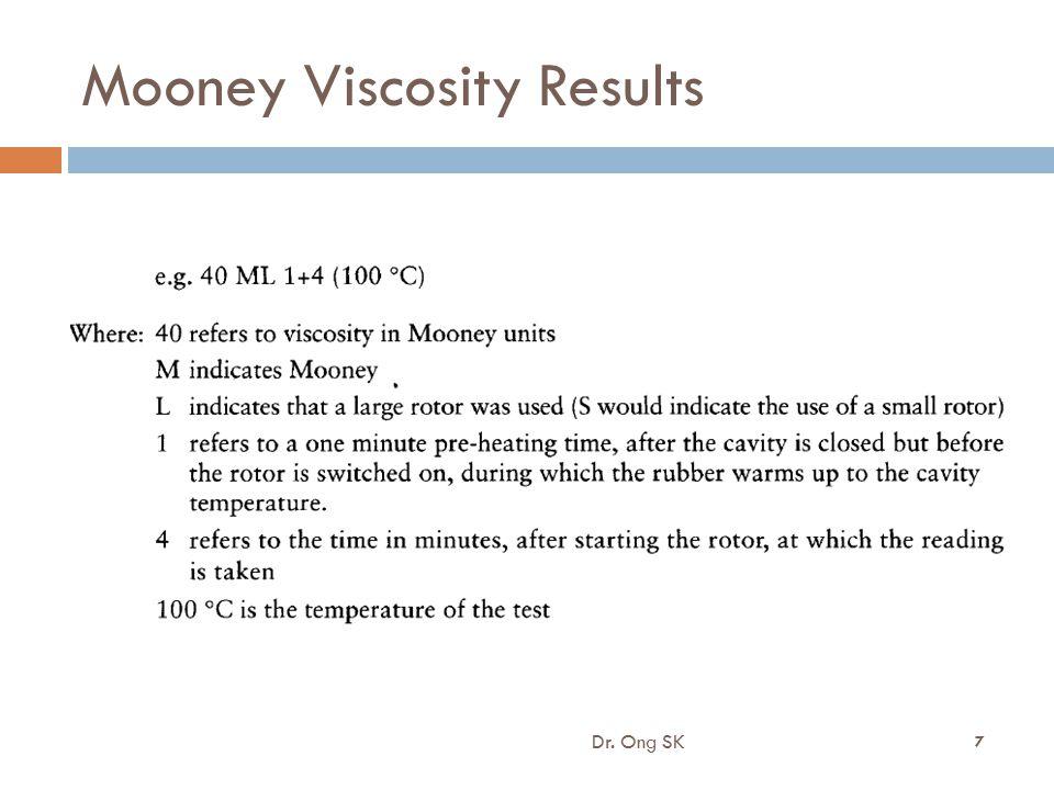 Mooney Viscosity Results Dr. Ong SK 7