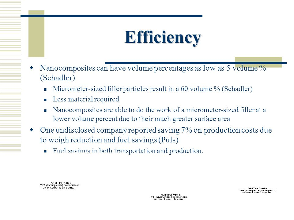 Efficiency  Nanocomposites can have volume percentages as low as 5 volume % (Schadler) Micrometer-sized filler particles result in a 60 volume % (Schadler) Less material required Nanocomposites are able to do the work of a micrometer-sized filler at a lower volume percent due to their much greater surface area  One undisclosed company reported saving 7% on production costs due to weigh reduction and fuel savings (Puls) Fuel savings in both transportation and production.