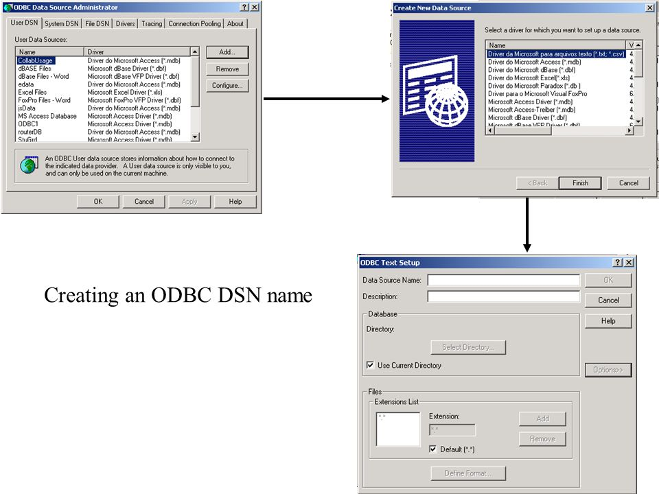 Creating an ODBC DSN name