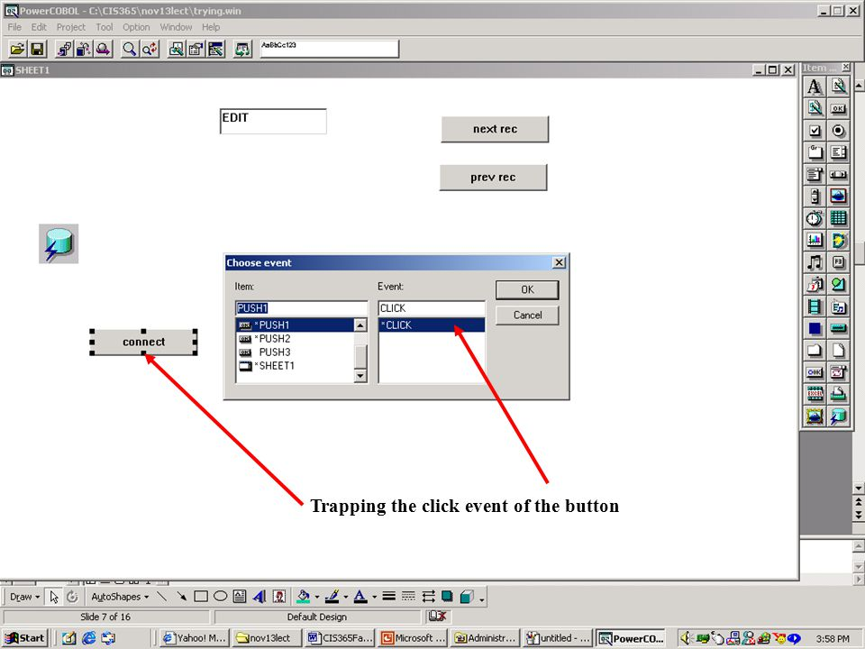 Adding the relevant code for database connection button Similarly other code can be added to other buttons.