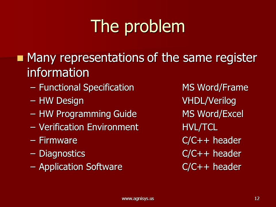 www.agnisys.us12 The problem Many representations of the same register information Many representations of the same register information –Functional S