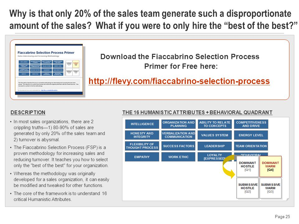 Page 25 Why is that only 20% of the sales team generate such a disproportionate amount of the sales.