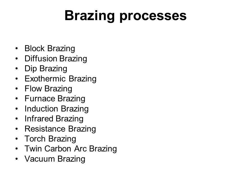 Brazing processes Block Brazing Diffusion Brazing Dip Brazing Exothermic Brazing Flow Brazing Furnace Brazing Induction Brazing Infrared Brazing Resis