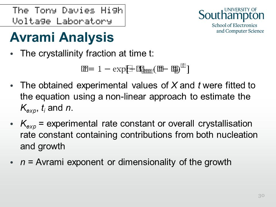 30 Avrami Analysis The crystallinity fraction at time t: The obtained experimental values of X and t were fitted to the equation using a non-linear ap