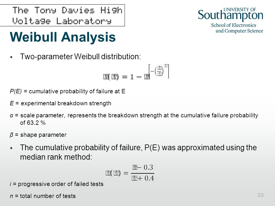 33 Weibull Analysis Two-parameter Weibull distribution: P(E) = cumulative probability of failure at E E = experimental breakdown strength α = scale pa
