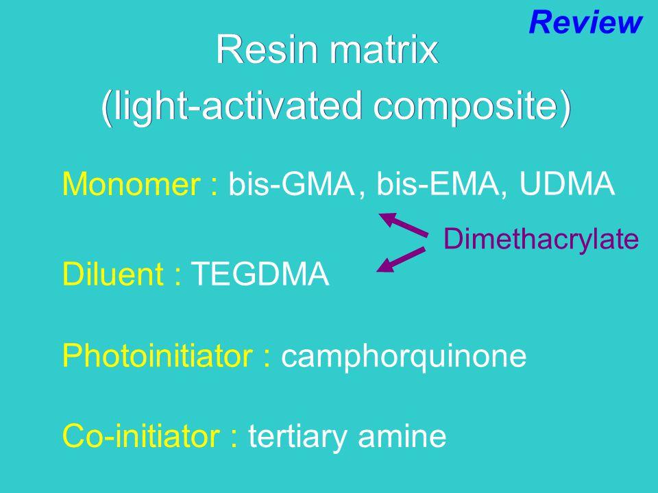 Resin matrix Monomer : bis-GMA Diluent : TEGDMA Photoinitiator : camphorquinone Co-initiator : tertiary amine (light-activated composite) Review, bis-