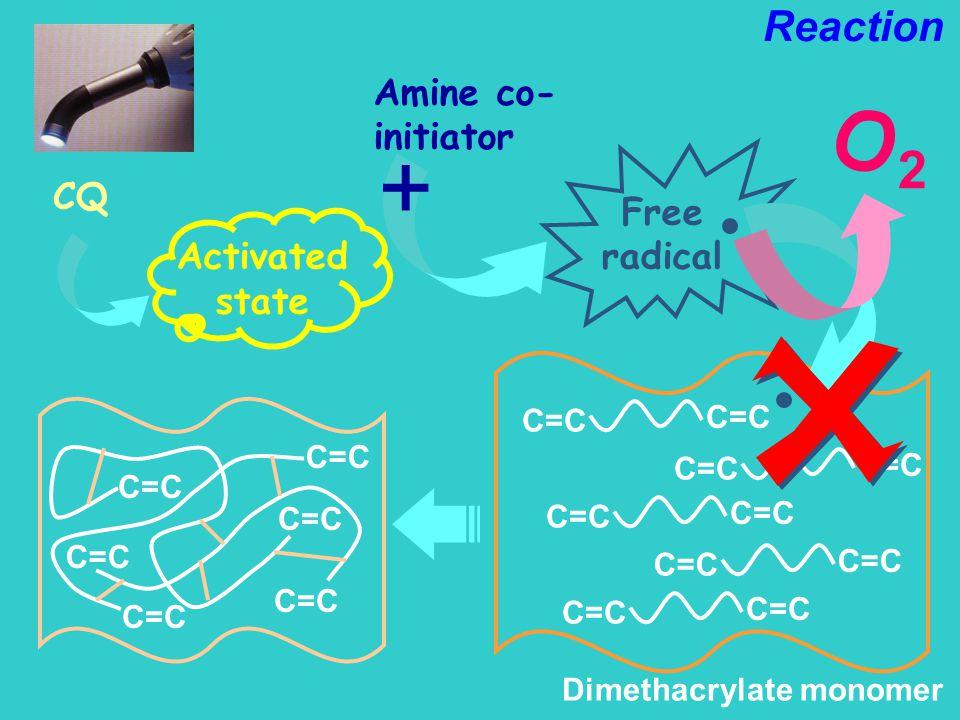 CQ Activated state Free radical Amine co- initiator + C=C Dimethacrylate monomer C=C O2O2 Reaction
