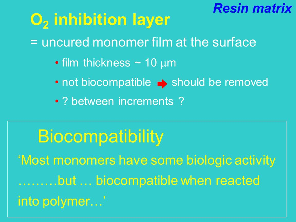 O 2 inhibition layer = uncured monomer film at the surface film thickness ~ 10  m not biocompatible should be removed .