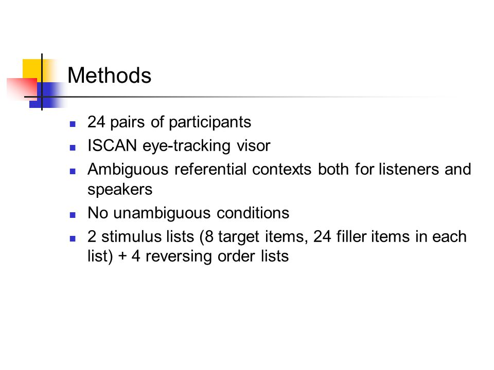 Methods 24 pairs of participants ISCAN eye-tracking visor Ambiguous referential contexts both for listeners and speakers No unambiguous conditions 2 s