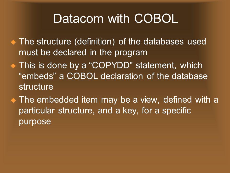 COPYDD  The COPYDD statement looks like 01 A01A0 COPYDD COMPANY.A01A0(PROD),2,N.