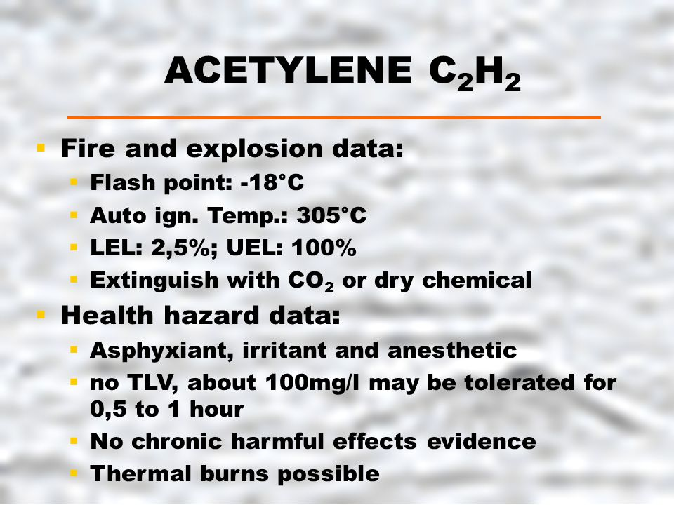 ACETYLENE C 2 H 2  Fire and explosion data:  Flash point: -18°C  Auto ign.