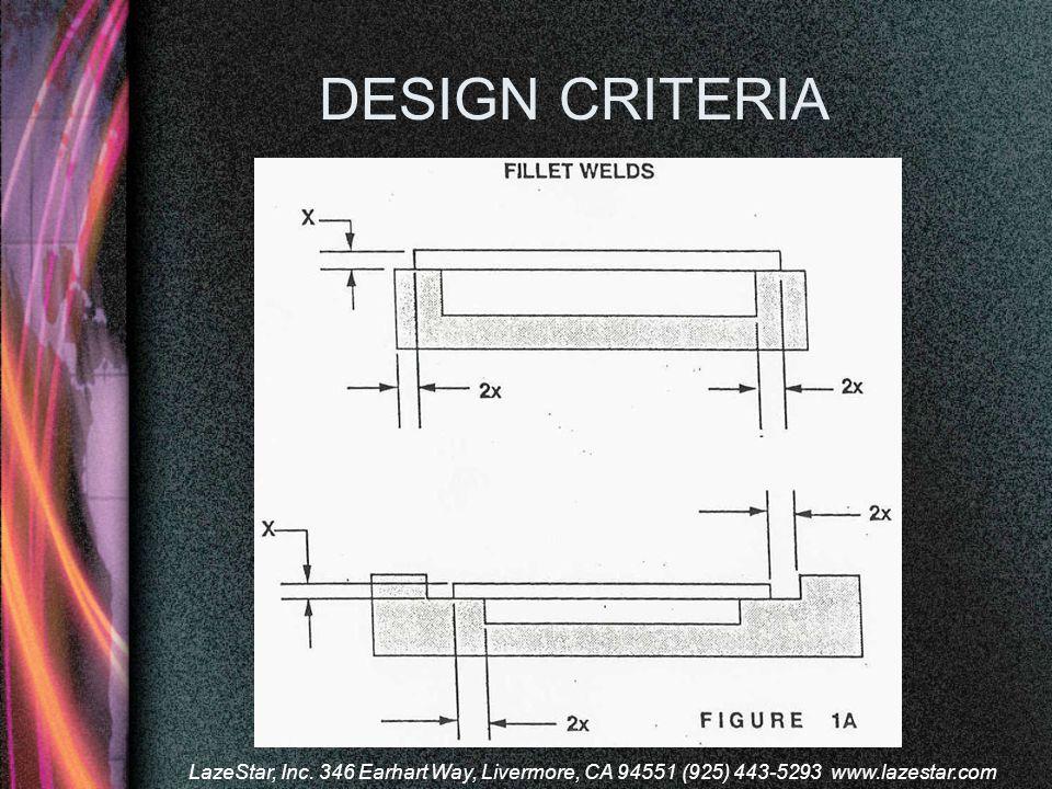 DESIGN CRITERIA LazeStar, Inc. 346 Earhart Way, Livermore, CA 94551 (925) 443-5293 www.lazestar.com