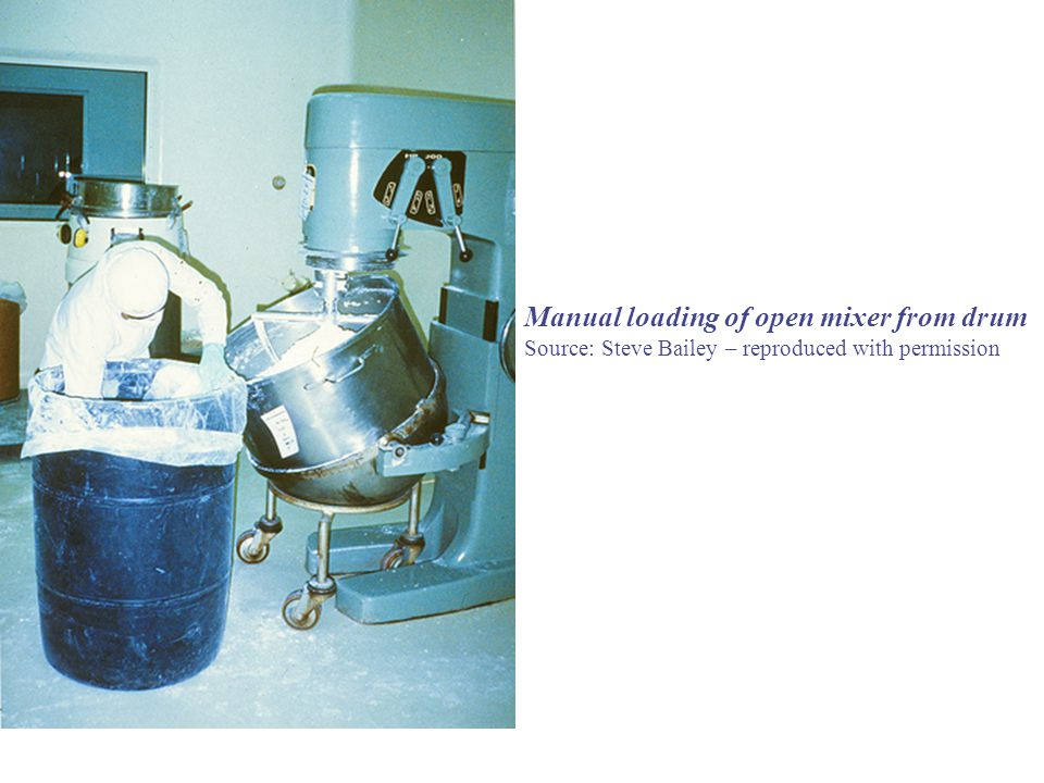 Manual loading of open mixer from drum Source: Steve Bailey – reproduced with permission