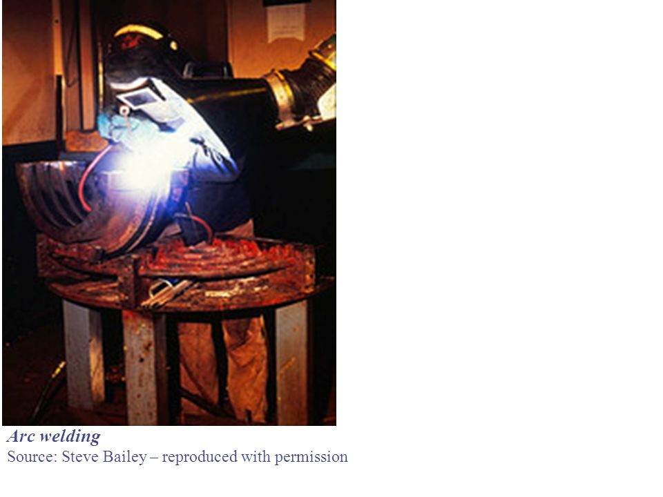 Arc welding Source: Steve Bailey – reproduced with permission