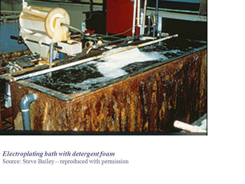 Electroplating bath with detergent foam Source: Steve Bailey – reproduced with permission