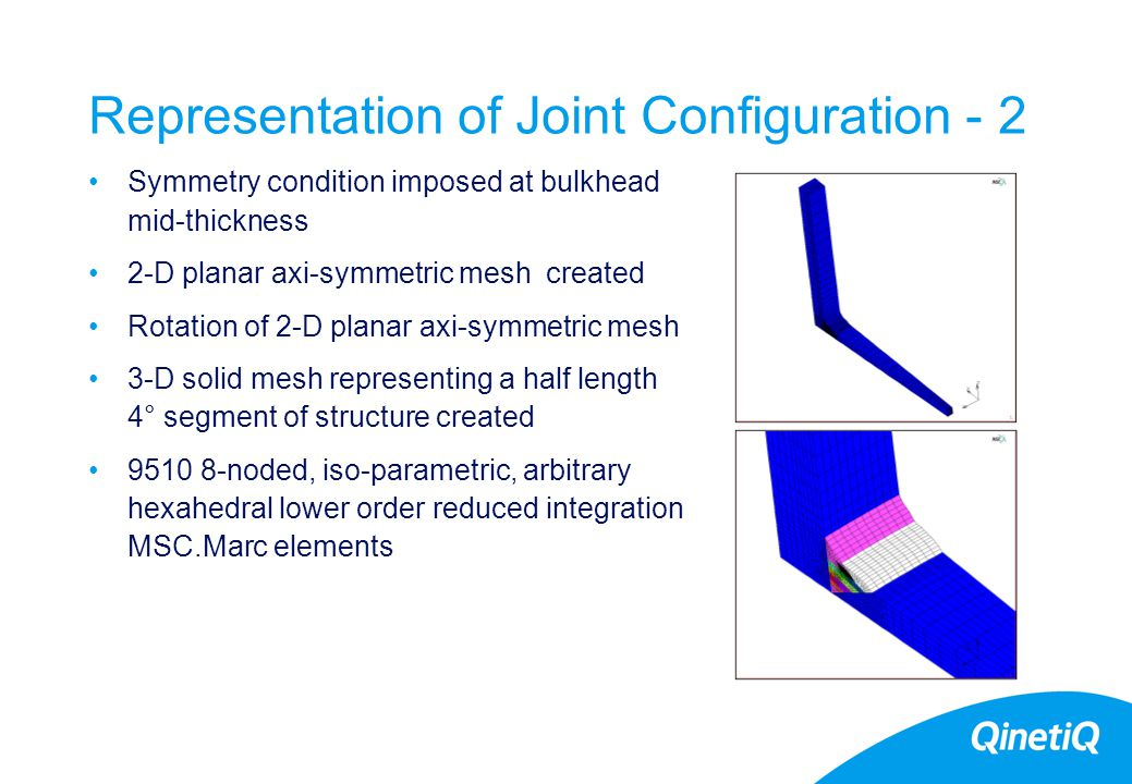 23 Representation of Joint Configuration - 2 Symmetry condition imposed at bulkhead mid-thickness 2-D planar axi-symmetric mesh created Rotation of 2-