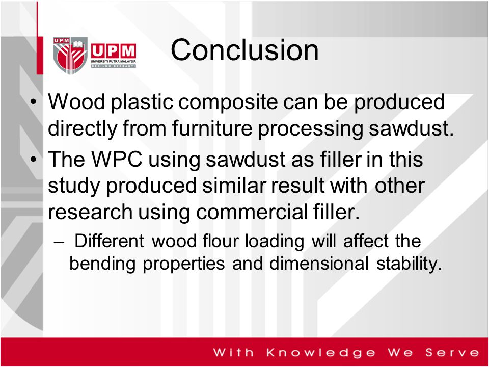 Conclusion Wood plastic composite can be produced directly from furniture processing sawdust.
