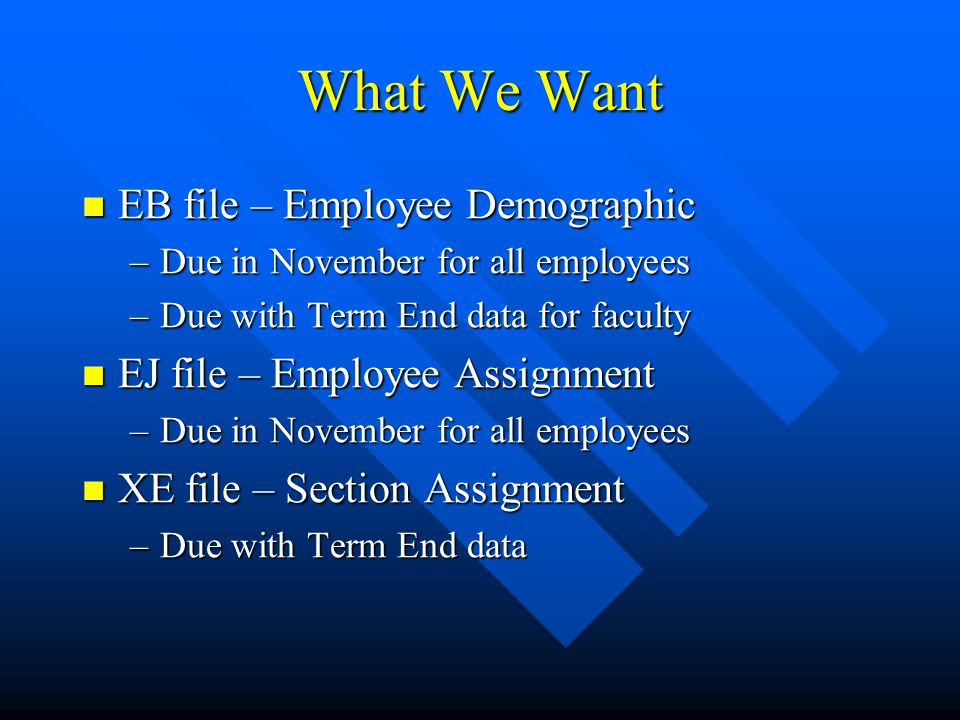 Creating the Files PEPCSAL – Calculate Salary PEPCSAL – Calculate Salary PEISTAN to review (one person at a time) PEISTAN to review (one person at a time) PEPEDEX – EB File PEPEDEX – EB File –Create Data – Y –Create Tape – N PDADEMO to review and fix PDADEMO to review and fix PEPEDEX PEPEDEX –Create Data – N –Create Tape – Y
