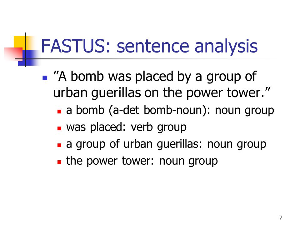 7 FASTUS: sentence analysis A bomb was placed by a group of urban guerillas on the power tower. a bomb (a-det bomb-noun): noun group was placed: verb group a group of urban guerillas: noun group the power tower: noun group