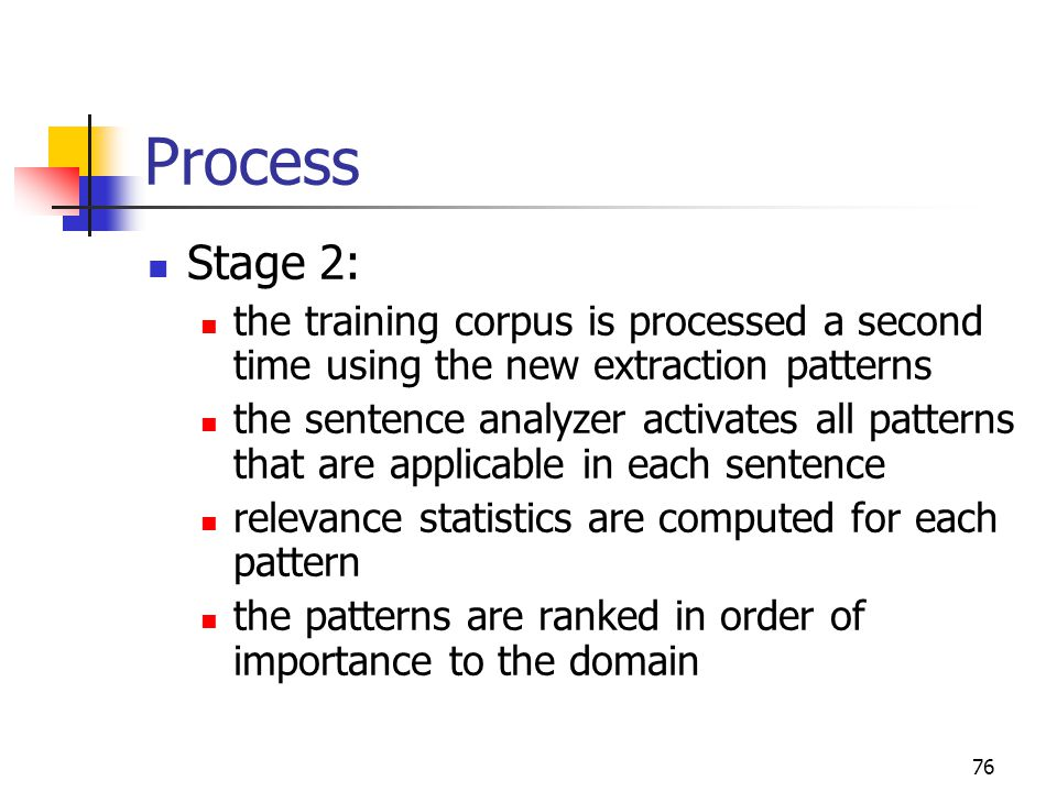 76 Process Stage 2: the training corpus is processed a second time using the new extraction patterns the sentence analyzer activates all patterns that are applicable in each sentence relevance statistics are computed for each pattern the patterns are ranked in order of importance to the domain