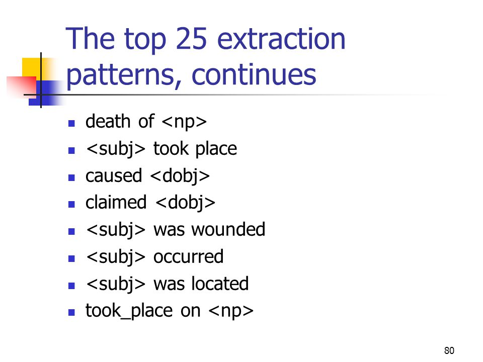 80 The top 25 extraction patterns, continues death of took place caused claimed was wounded occurred was located took_place on
