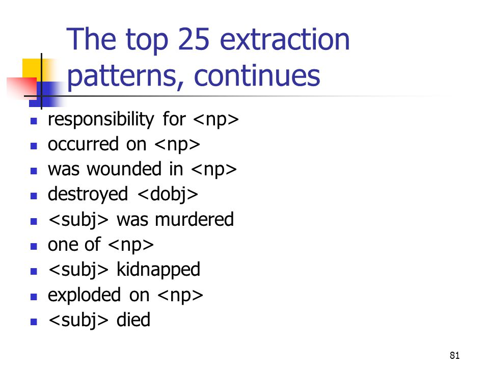 81 The top 25 extraction patterns, continues responsibility for occurred on was wounded in destroyed was murdered one of kidnapped exploded on died