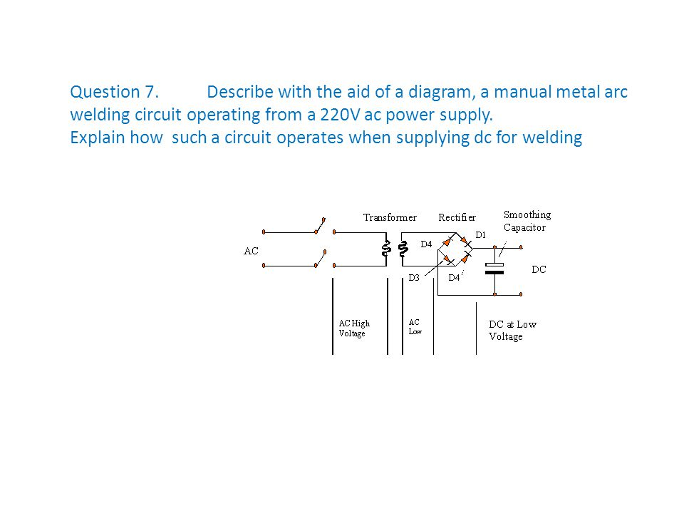 Question 7.Describe with the aid of a diagram, a manual metal arc welding circuit operating from a 220V ac power supply. Explain how such a circuit op