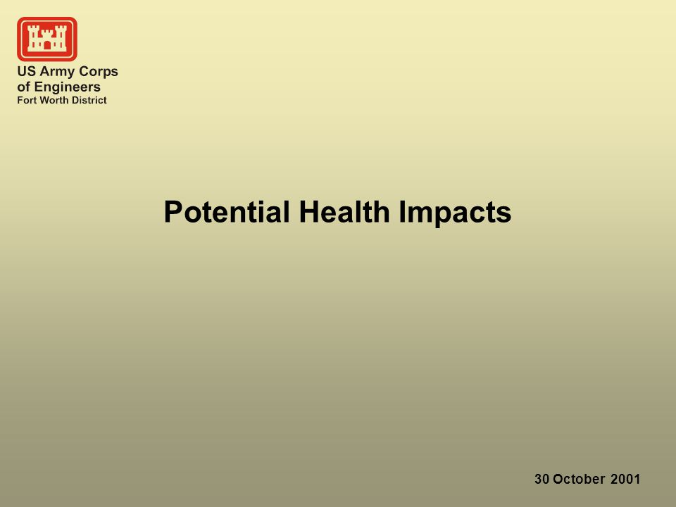 30 October 2001 Potential Health Impacts