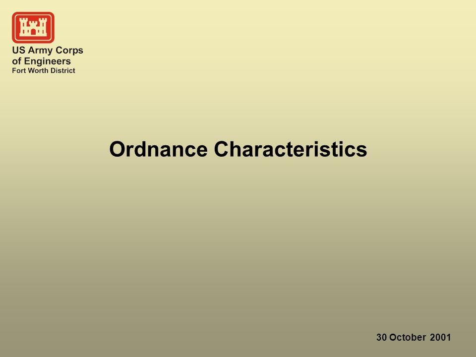 30 October 2001 Ordnance Characteristics