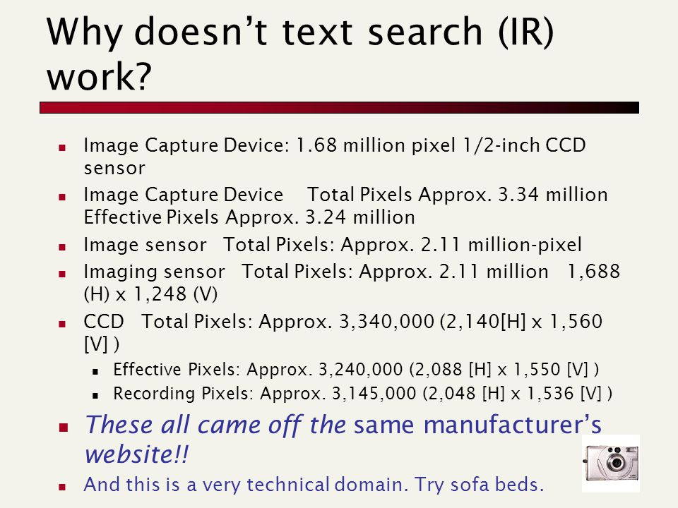 Why doesn't text search (IR) work? Image Capture Device: 1.68 million pixel 1/2-inch CCD sensor Image Capture Device Total Pixels Approx. 3.34 million