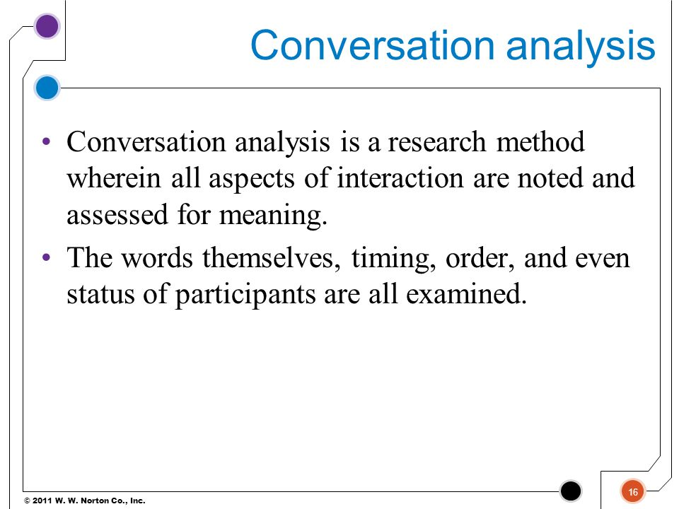 © 2011 W. W. Norton Co., Inc. Conversation analysis Conversation analysis is a research method wherein all aspects of interaction are noted and assess