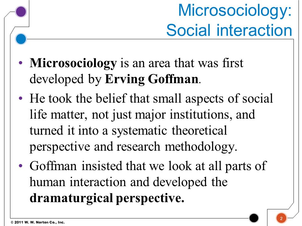 © 2011 W. W. Norton Co., Inc. Microsociology: Social interaction Microsociology is an area that was first developed by Erving Goffman. He took the bel