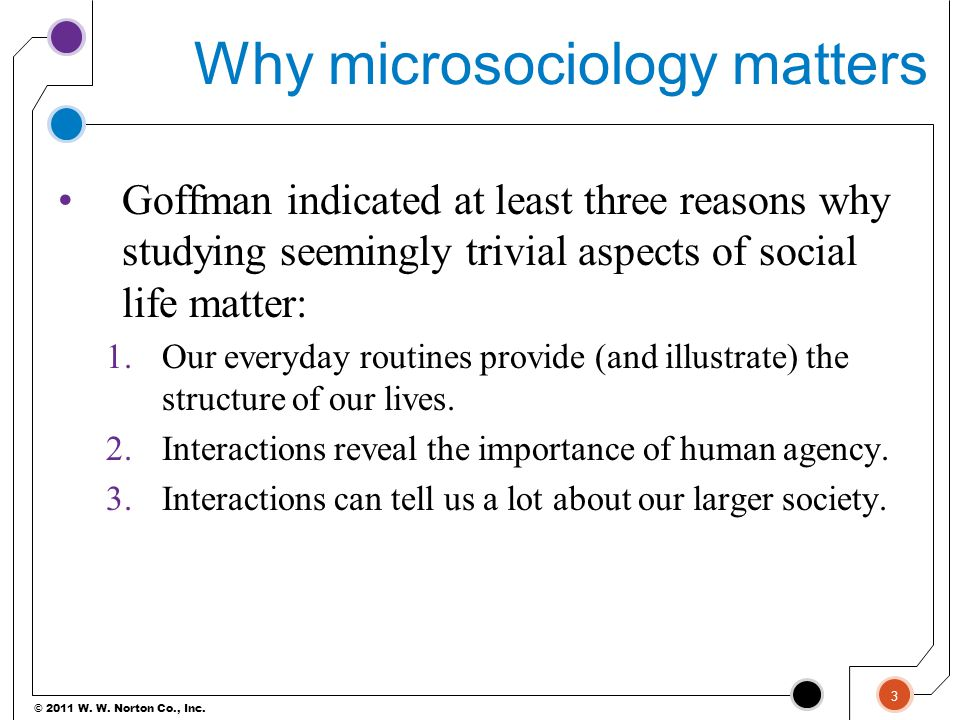 © 2011 W. W. Norton Co., Inc. Why microsociology matters Goffman indicated at least three reasons why studying seemingly trivial aspects of social lif